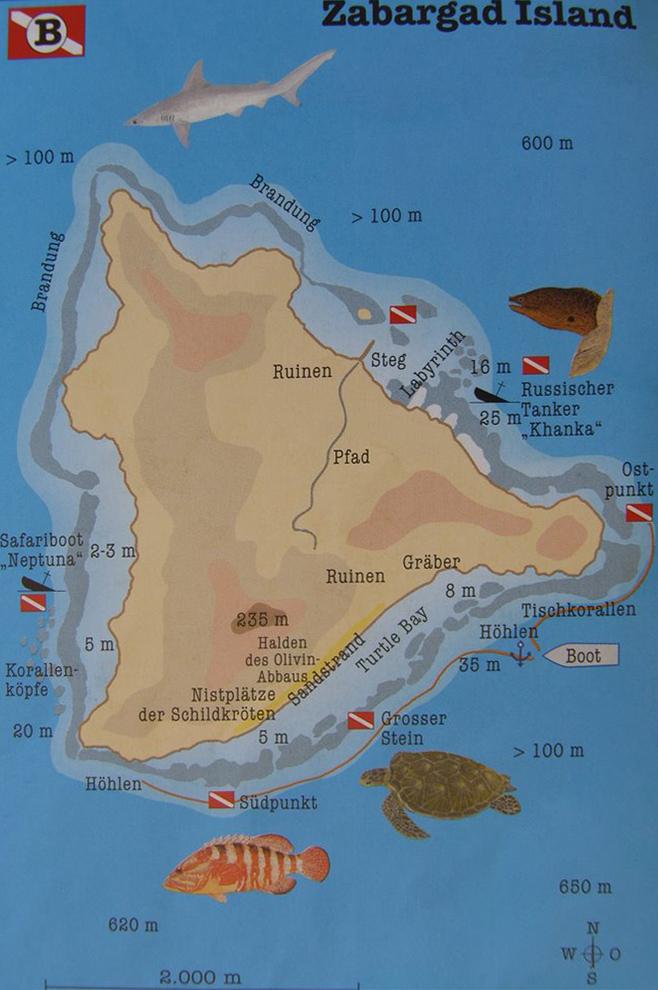 Zabargad, egyiptom, búvár, búvárszafari, térkép