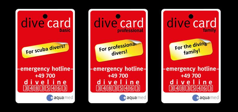 aquamed, búvárbiztosítás, német, dive card